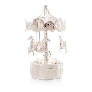 Matashi Silver-plated Carousel Horse Music Box Made with Genuine Pink Matashi Crystals MCTMSC3800