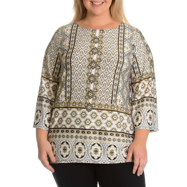 Hayley Matthews Women's Plus Size Patterned Top
