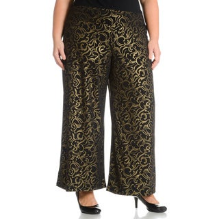 Sunny Leigh Women's Plus Size Brocade Printed Pant