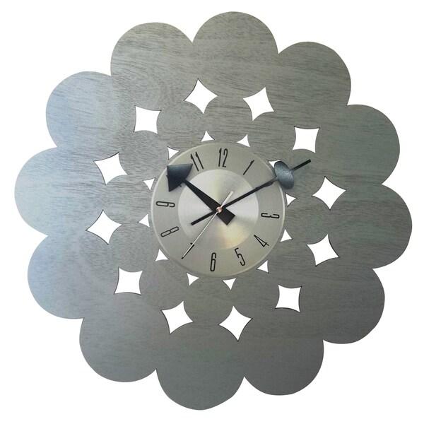 Mid-Century Modern Handmade Laser Cut Wood 20 Inch Clock