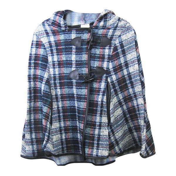 Plaid Design Kids' Poncho with Hoodie
