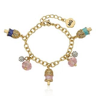 Molly Glitz 14k Goldplated Crystal Enamel Popsicle Charm Bracelet