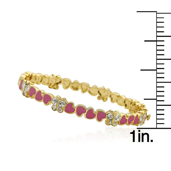 Molly Glitz 14k Goldplated Hot Pink Cut-out Heart Bangle