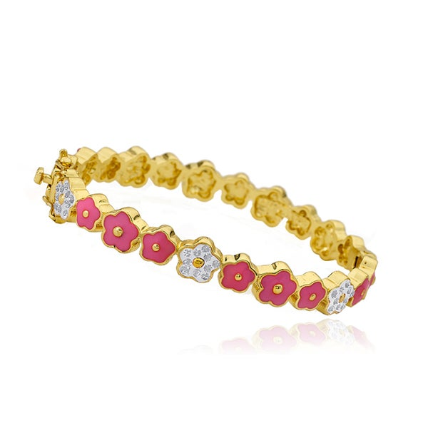 Molly Glitz 14k Goldplated Hot Pink Cut Out Flower Bangle