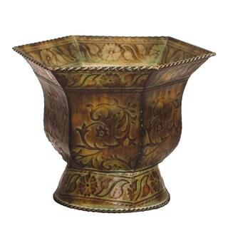 Large 13-inch Green Hexagonal Decorative Vase