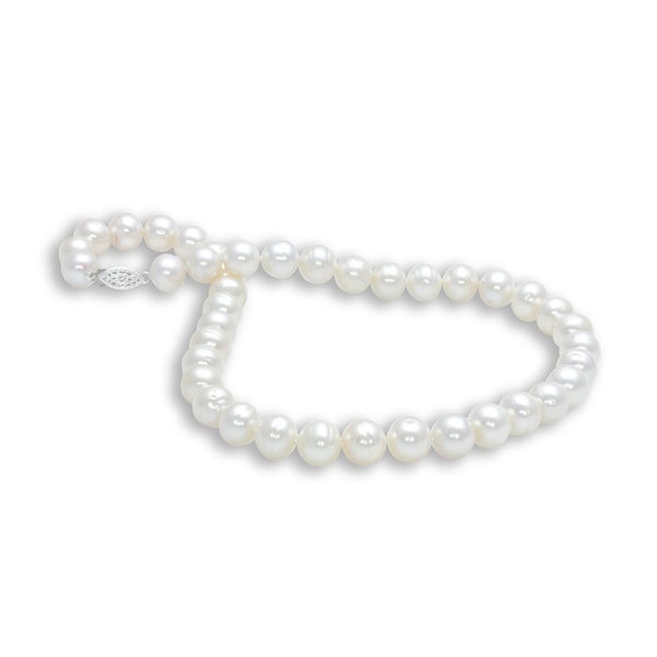 Sterling Silver Semi Round Freshwater Pearl Necklace (11-12 mm)