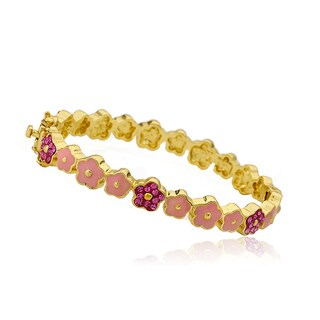 Molly Glitz 14k Goldplated Pink Cut-out Flower Bangle