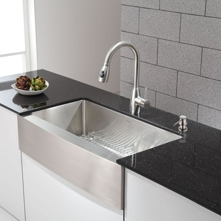 Kraus Single Lever Stainless Steel Pull Out Kitchen Faucet and Soap Dispenser