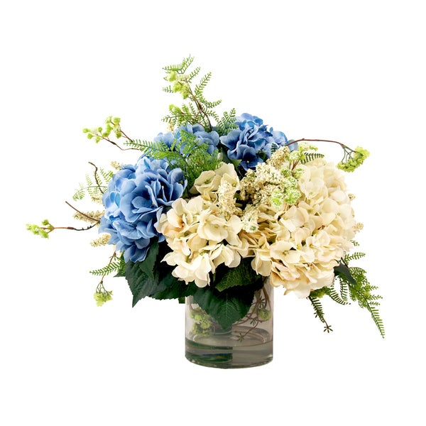 Blue and Cream Silk Hydrangea Floral in Glass Vase