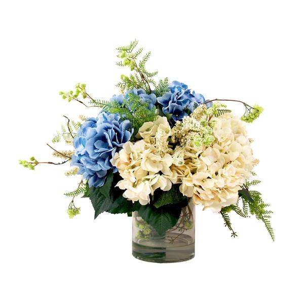 Blue and Cream Silk Hydrangea Floral in Glass Vase