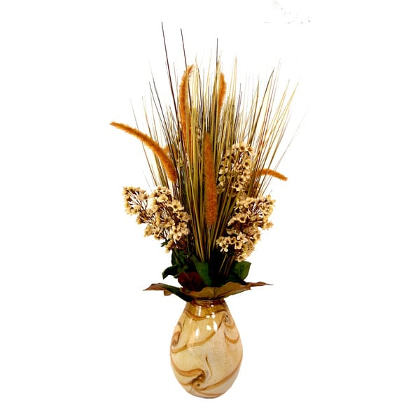 Lilac, Grass and Cattail Arrangement in Swirly Glass Pot