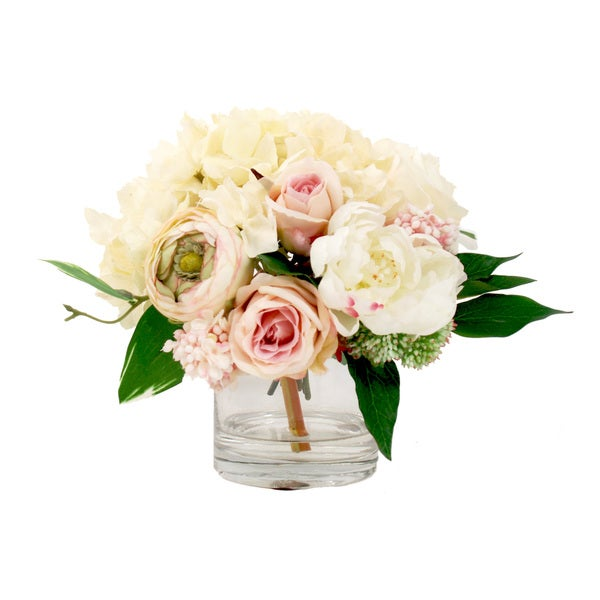 Pink and White Hydrangea, Peony and Rose Silk Floral