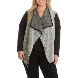 Sunny Leigh Women's Plus Size Boucle Cardigan