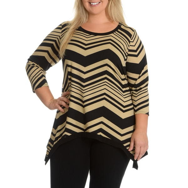 Sunny Taylor Women's Plus Size Zig Zag Stripe Top