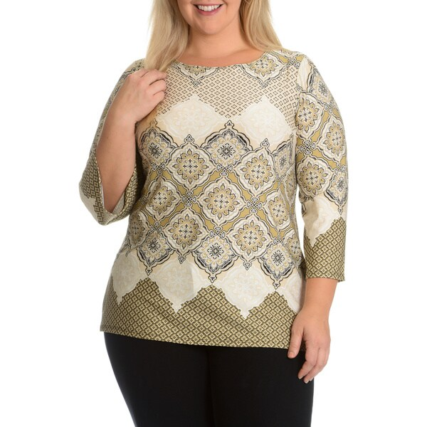 Hayley Matthews Women's Plus Size Brocade Printed Top