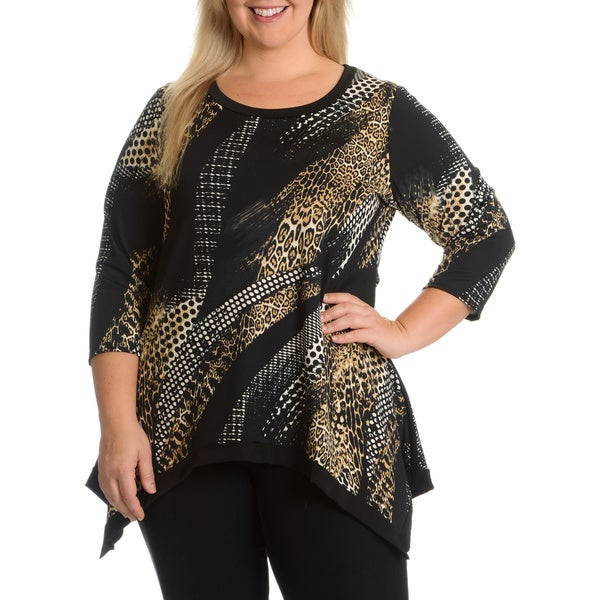 Sunny Taylor Women's Plus Size Animal Printed Top