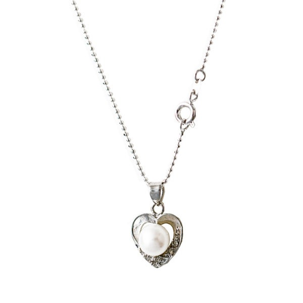 Rhodium-plated White Freshwater Pearl Heart Locket Pendant Necklace (7-8 mm)