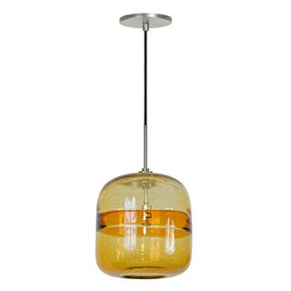 JESCO 1-Light Line Voltage Hand-Blown Color Glass Pendant with Canopy