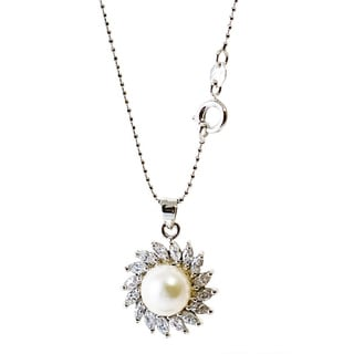 Rhodium-plated Love Freshwater Pearl and Sunshine Cubic Zirconia Necklace (8-9 mm)