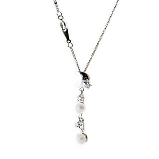 Rhodium-plated White Freshwater Pearl and Cubic Zirconia Starry Sky Pendant Necklace (5-7 mm)