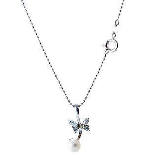 Rhodium-plated White Freshwater Pearl and Cubic Zirconia Butterfly Pendant Necklace (5-6 mm)