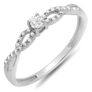 10K White Gold 1/5ct. TDW Round Diamond Bridal Engagement Ring (J-K, I2-I3)