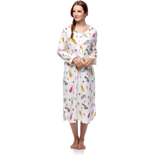 La Cera Women's Cotton Flannel Cat Print Pajama Nightgown