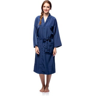La Cera Women's Navy Full-length Robe