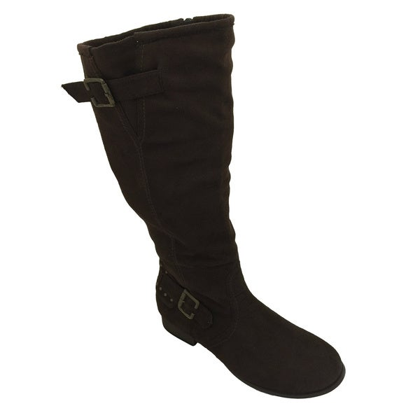 Nichole Simpson Women's Brown Suede Buckle Knee-High Riding Boots