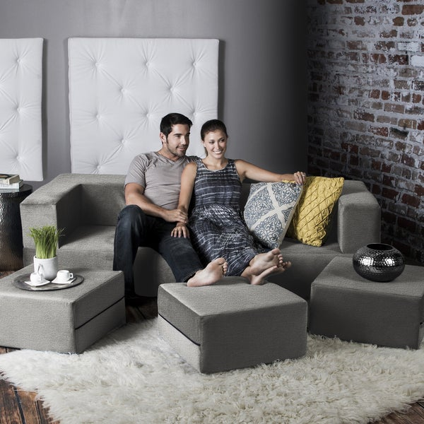 Jaxx Zipline California King Convertible Sleeper Sofa and Ottomans