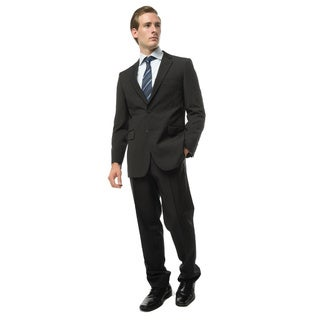 Verno Addeo Men's Black Classic Fit Italian Styled Two Piece Suit