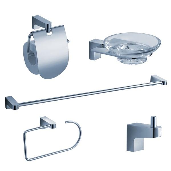 Fresca Generoso Brass 5-piece Chrome Bathroom Accessories Set