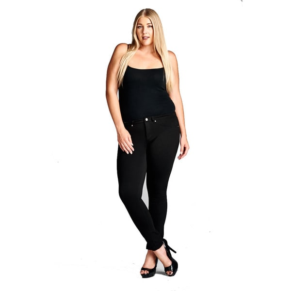 Women's Plus Size Strech Pants BE1208BD-804BLK-1X