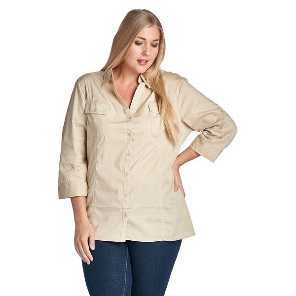 Women's Plus Size Khaki Casual Button Up Shirt