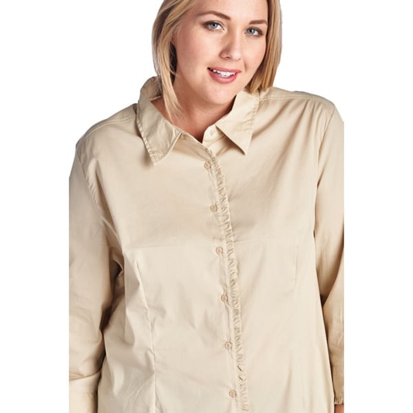 Womens Plus Size Casual Khaki Button Up Shirt