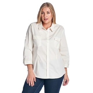 Women's Plus Size Casual Button-up Shirt