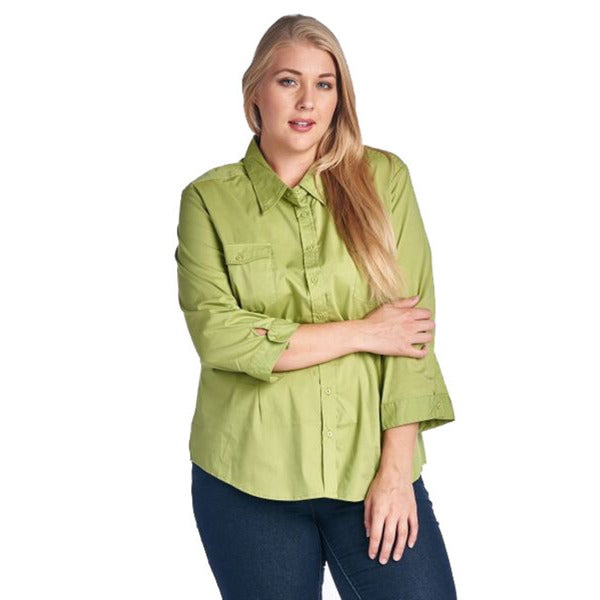 Women's Plus Size Green Casual Button Up Shirt