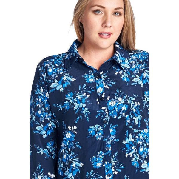Women's Plus Size Blue Floral Button-Up Shirt