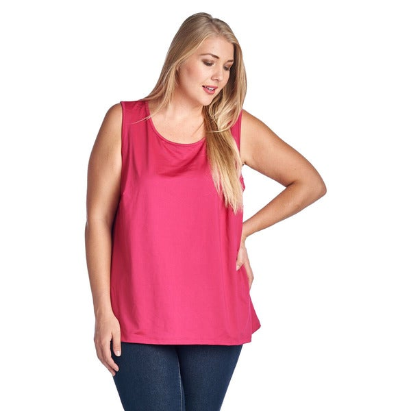 Women's Plus Silk Pink Tank