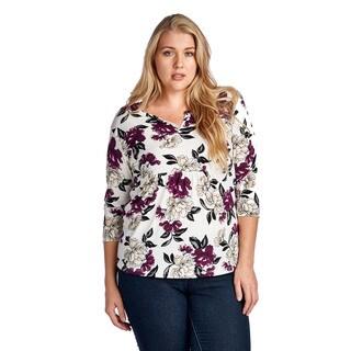 Women's Plus Size Red Beige Floral Elbow Blouse