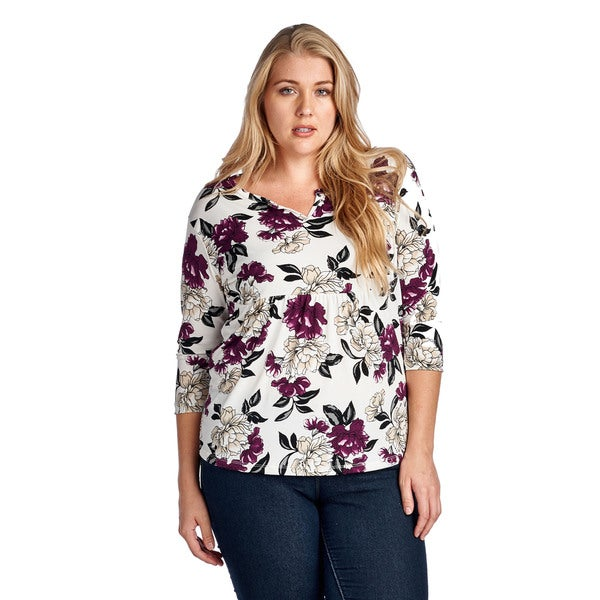 Women's Plus Size Red Beige Floral Elbow Blouse