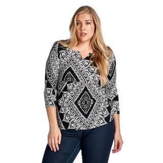 Women's Plus Size Diamond Black Elbow Blouse