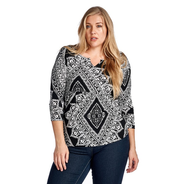 Women's Plus Size Diamond Black Elbow Blouse