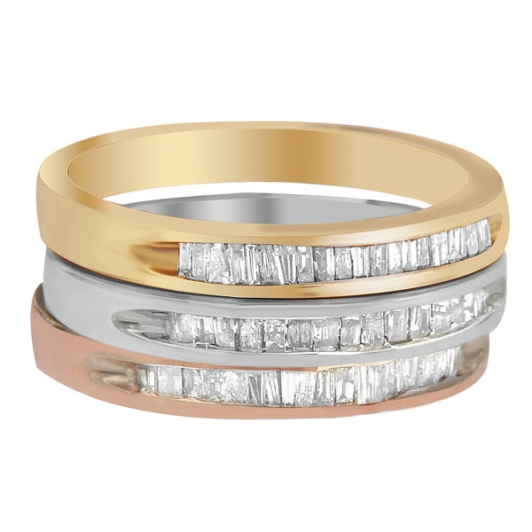 Sterling Silver 1/5CTW Baguette-cut Diamond Stackable 3-piece Ring Set (I-J, I2-I3)