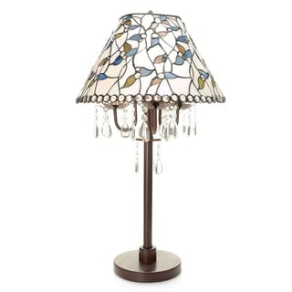 Amia 3-light White Tiffany-style Crystal Table Lamp