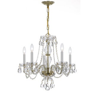 Crystorama Traditional 5-light Clear Crystal/ Brass Chandelier