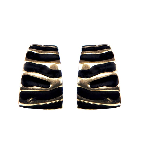 Brass Black Clip on Earrings
