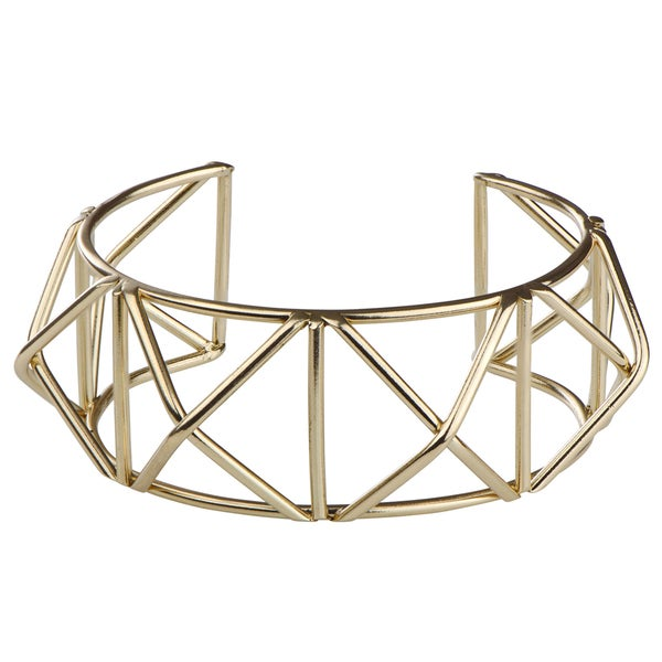 Brass Red Geometric Gold Cuff Bracelet