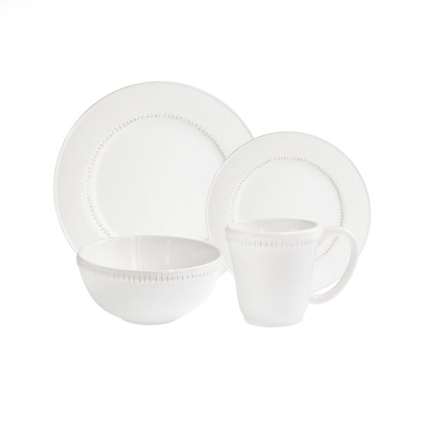 American Atelier Bianca Dash White/Antique 16PC Dinner Set (As Is Item) 29351419