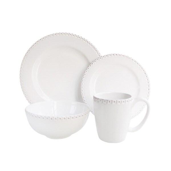 Bianca Bead White 16-piece Dinnerware Set
